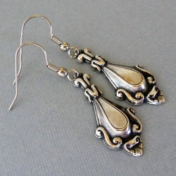 Silver Spoon Style Earrings by pinkingedgedesigns on Etsy