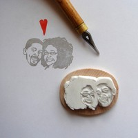 Custom / couple portrait / handcarved rubber stamp by lilimandrill