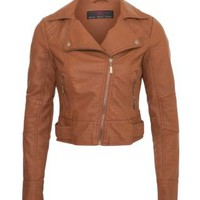 Tan Leather-Look Biker Jacket