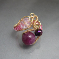 Copper Wire Wrapped Bead Ring in Pinks and Purples