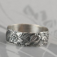 Signs of Spring Silver Wedding BandWide Sterling by debblazer