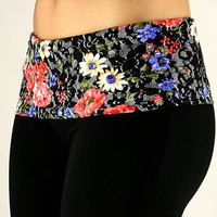 ZENANA Love Peace Hope Black Floral Print Active Wear Yoga Pants S,M,L