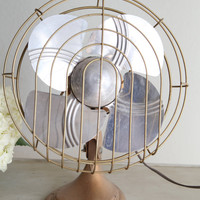 Vintage Mid Century Modern Brass Fan