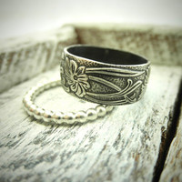 Classic Wide Band & Modern Ring Set w Secret Message by palefishny