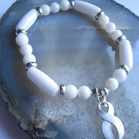 "Lung & Bone Cancer bracelet (223)    6 1/2"", Anti War, Adoption, Scoliosis, cancer awareness collection, unique visions by jen"