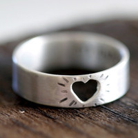 Heart Ring Silver Cutout Valentines Day by monkeysalwayslook