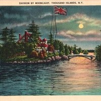 Zavikon Island by Moonlight, Thousand Islands, NY Vintage Postcard