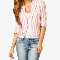 Single Button Striped Blazer | FOREVER 21 - 2000049601