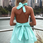 Teal Halter Dress with Open Back & Tie Bow Detail