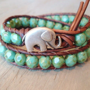 Bohemian leather wrap bracelet  green turquoise by slashKnots