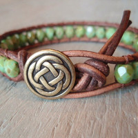 Beaded leather wrap bracelet  Celtic Pride brown by slashKnots