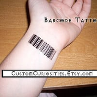Barcode temporary tattoos set of 7 by CustomCuriosities on Etsy
