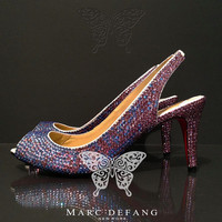 "Genuine leather, 3"" heels, Duo color crystal Luxury heels"