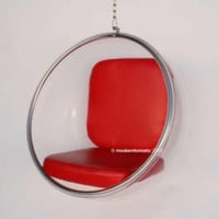 mid century modern hanging globe egg bubble chair by moderntomato - red  | eBay