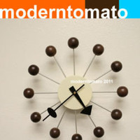 walnut ball clock by moderntomato mid century modern atomic 60s era best quality