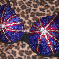 Union Jack  Cystal  T-shirt Bra Any Size A-G Cups Any Flag Can Be Done