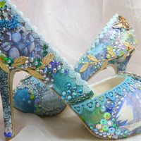 Tropical Island wedding shoes ..  collage art ...  Sparkling ocean theme bridal shoes