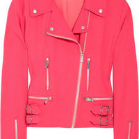 Christopher Kane|Neon wool-blend crepe biker jacket|NET-A-PORTER.COM