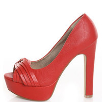 Qupid Drama 02 Red Pleated Peep Toe Platform Pumps - &amp;#36;34.00