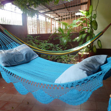 Turquoise hammock Double Hammock handwoven Natural by hamanica