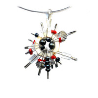 FOR HER Safety pins pendant white black and red with pearls beads and mother of pearl   sun inspired - one of a kind - OOAK
