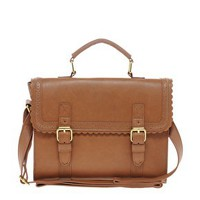 ASOS Satchel Bag With Scallop Trim And Buckles at asos.com