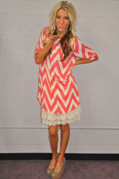 Coral dreamy chevron 3 4 sleeve dress from modern vintage