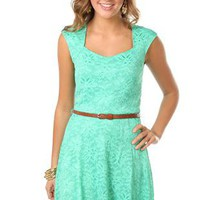 capped sleeve all over lace belted circle skirt dress - debshops.com