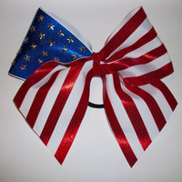 3in. American Flag Cheer Bow