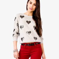 Sequined Hearts Pullover