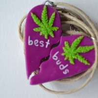 Purple Haze Best Buds Weed Friendship Necklace by BowsBeforeHose