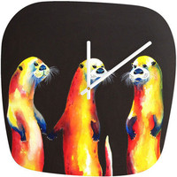 Clara Nilles Flaming Otters Modern Clock