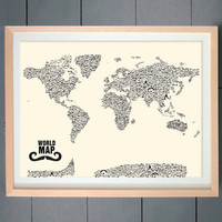 Moustache World Map made with various Moustache  by thepixelprince