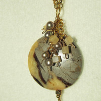 Septarian, Pearls and Aragonite Round Pendant