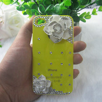 3D Handmade Tartrazine Alloy Camellia Bling Crystal DIY iPhone 4 4S Case Cover /
