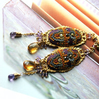 Amethyst, Citrine, Padparadscha sapphire gold earrings with clay floral details on Vintage filigree - Remembering a Golden Sunset