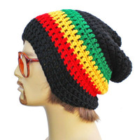Slouch Rasta Beanie Mens or Unisex - Ultimate Slacker Striped Beanie Hat