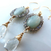 green amethyst, amazonite and labradorite earrings in 14k gold filled - unusual earrings - made to order