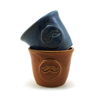Mustache Cups, Two Blue and Brown Ceramic Cups for Rum or Juice, Gift Set, Great Gifts for Men by MiriHardyPottery