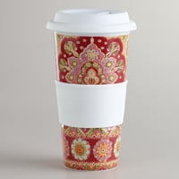 Red Batik Floral Non-Paper Cup