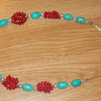 Turquoise and Coral Necklace by trevor4995 on Etsy