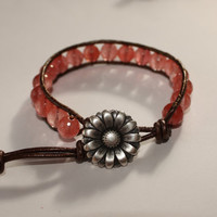 Cherry Quartz Leather Wrap Bracelet