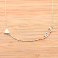 tiny HEART & LOVE YOU necklace, (2 colors) | girlsluv.it