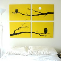 Owl Paintings in Yellow, White, & Black 18 x 24 (Set of 4)