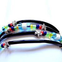 Memory Wire Black and Multicolored Beaded Cuff Bracelet