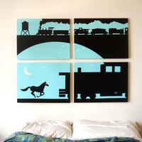Train Paintings in Blue, Black, & White 18 x 24 (Set of 4)