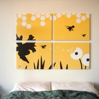 Bee Paintings in Yellow, White, & Brown 18 x 24 (Set of 4)