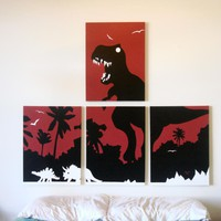 Dinosaur Paintings in Red, Black, &amp; White 18 x 24 (Set of 4)