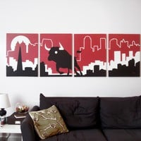 Bull Paintings in Red, White, & Black 18 x 24 (Set of 4)