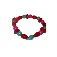 Red, Pink and Teal Glass Beaded Bracelet